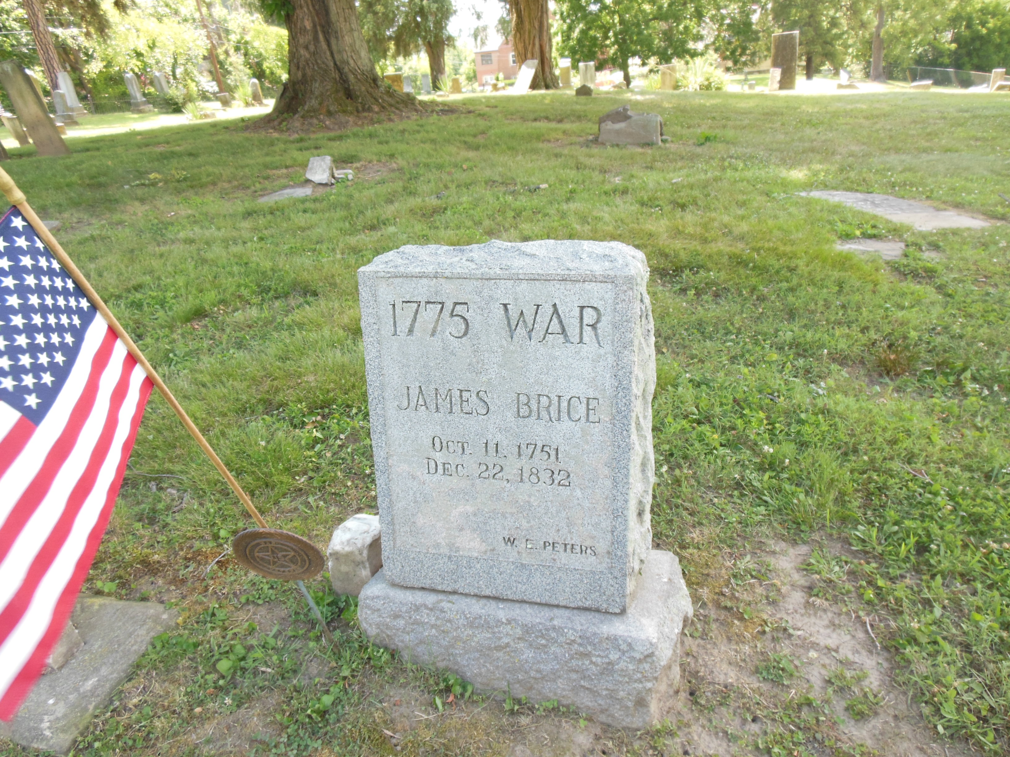 James Brice, Patriot, Tombstone, West State.JPG